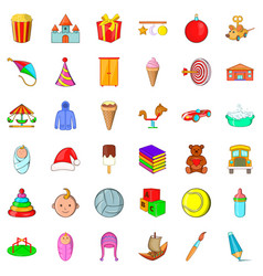 Carousel icons set cartoon style vector