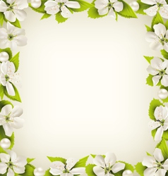 Cherry flowers with pearl beads like frame on vector image