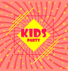 childrens party sign a pink starter poster vector image