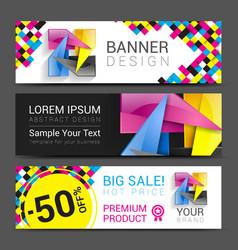 CMYK Banners logo element modern design color vector