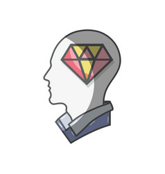 Color silhouette head with diamond inside vector
