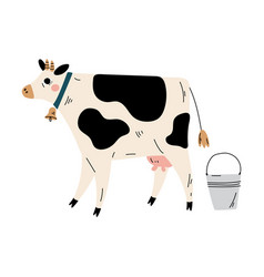 Cow and bucket milk agriculture dairy cattle vector