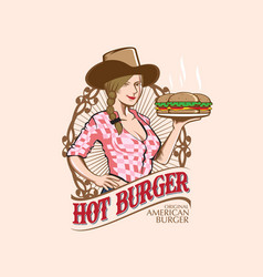 Cowgirl with burger vector