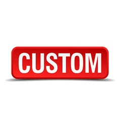 Custom red three-dimensional square button vector image vector image