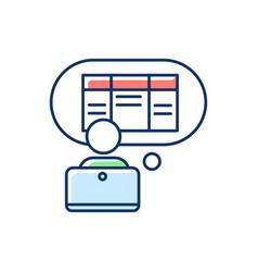Data entry clerk rgb color icon vector