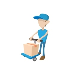 Delivery man with cart icon cartoon style vector