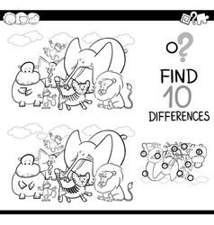Difference game with animals vector