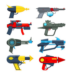 different futuristic weapons shooting guns vector image