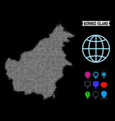 Dot halftone borneo island map vector