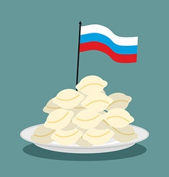 Dumplings Russian national patriotic food Russian vector image