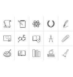 education hand drawn sketch icon set vector image