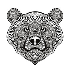 entangle stylized bear face hand drawn doodle vector image