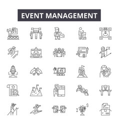 event management line icons for web and mobile vector image