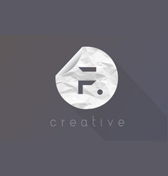 F letter logo with crumpled and torn wrapping vector