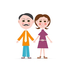 Father and Mother Isolated on white Backgrou vector image vector image