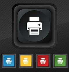 Fax printer icon symbol Set of five colorful vector