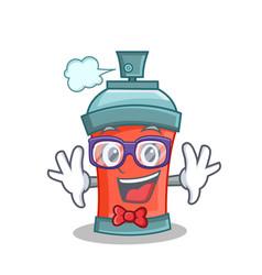 Geek aerosol spray can character cartoon vector