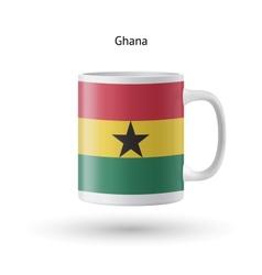 Ghana flag souvenir mug on white background vector