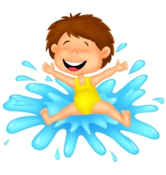 Girl cartoon jumping to the water vector