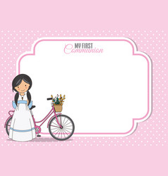 Girl communion card girl with bicycle vector