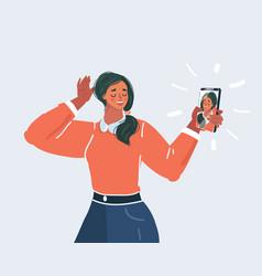 girl make selfie on white background vector image