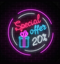 Glowing neon banner of big sale sign on dark vector