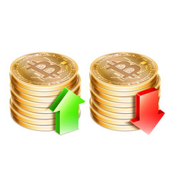 golden bitcoin coins vector image