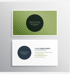 Green diagonal wavy lines business card design vector