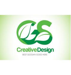 gs green leaf letter design logo eco bio leaf vector image