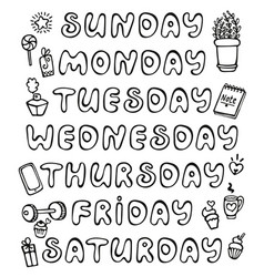 Hand drawn weekdays and elements for notebook vector