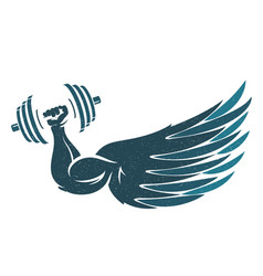 hand with dumbbells and wing vector image