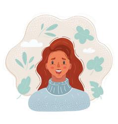 happy redhead woman smile vector image