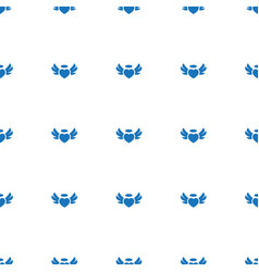 Heart angel wings icon pattern seamless white vector