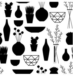 Home decoration vases flower pots succulents and vector