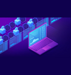 Isometric cryptocurrency trading landing page vector