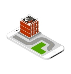 Isometric icon representing modern house with a vector