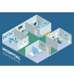 Isometric Medical Hospital Interior View Poster vector