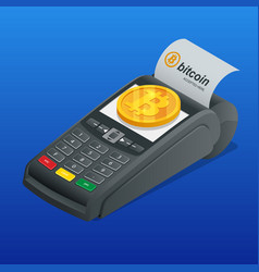 Isometric payment machine paying by bitcoin to vector
