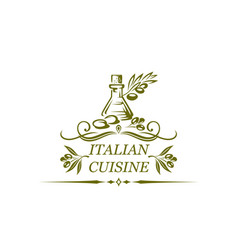 italian cuisine isolated icon of olive oil vector image