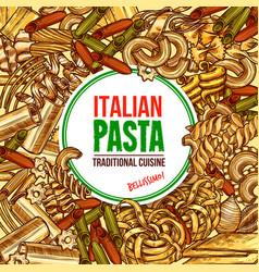 italian pasta farfallespaghetti and fettuccine vector image