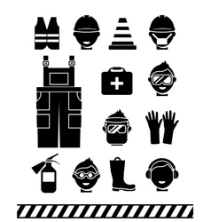 Job safety black icons Personal protective vector