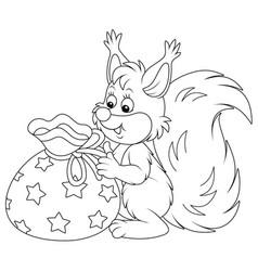 Joyful squirrel with a gift bag vector
