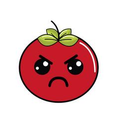 Kawaii nice angry tomato vegetable vector