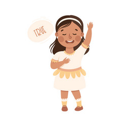 kind and fair little girl with hand on heart vector image