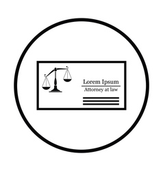 Lawyer business card icon vector image