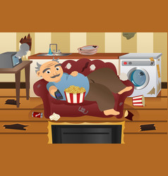 lazy sloppy man watching television vector image