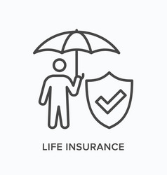 Life insurance flat line icon outline vector