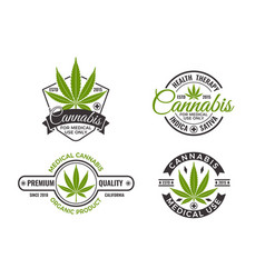 medical cannabis labels and logos vector image