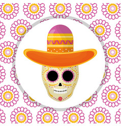 mexican skull death mask with mariachi hat in vector image