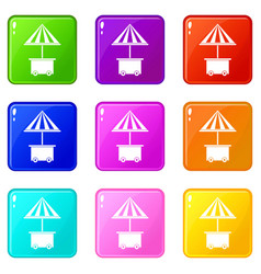 Mobile cart with umbrella for sale food icons vector